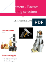 Equipment - Factors affecting selection
