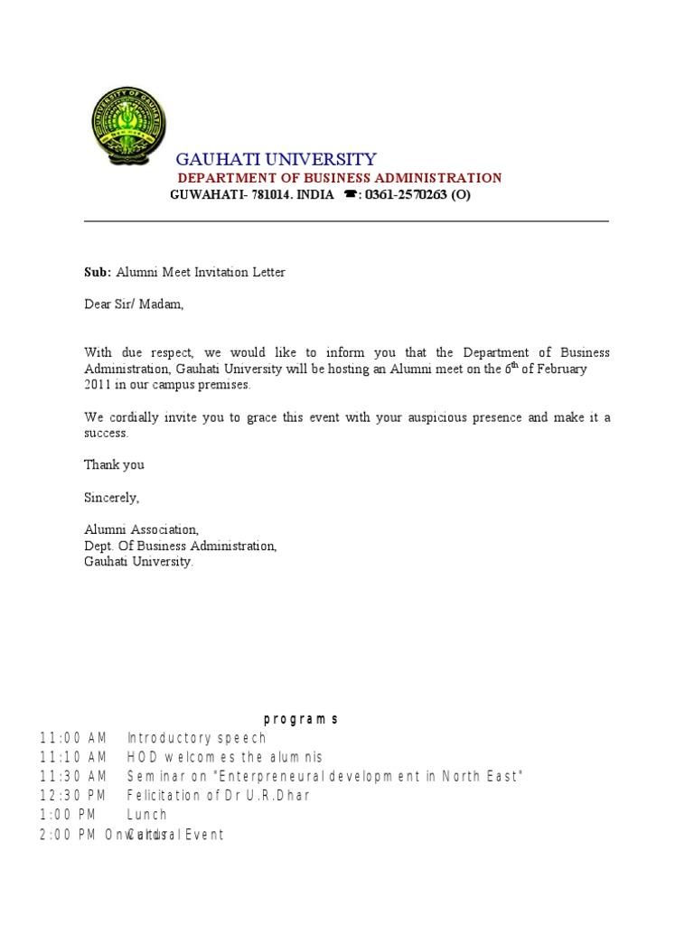 Alumni meet invitation letter stopboris Gallery