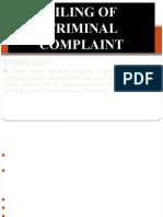 Filing of Criminal Complaint