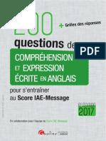 200 questions de Compréhension et Expression écrite en anglais