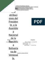 Funciones y atribuciones del Presidente y  de la Asamblea Nacional