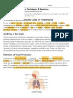 Theatre Voice Techniques  Exercises