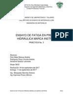 ENSAYO DE FATIGA EN PRENSA HIDRÁULICA MARCA INSTRON