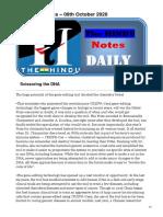 The HINDU Notes  09th October 2020