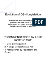 Evolution of OSH Legislation