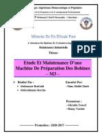 Mémoire TS Spécialité Maintenance Industrielle