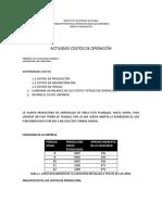 ACTIVIDAD COSTOS DE OPERACIÓN