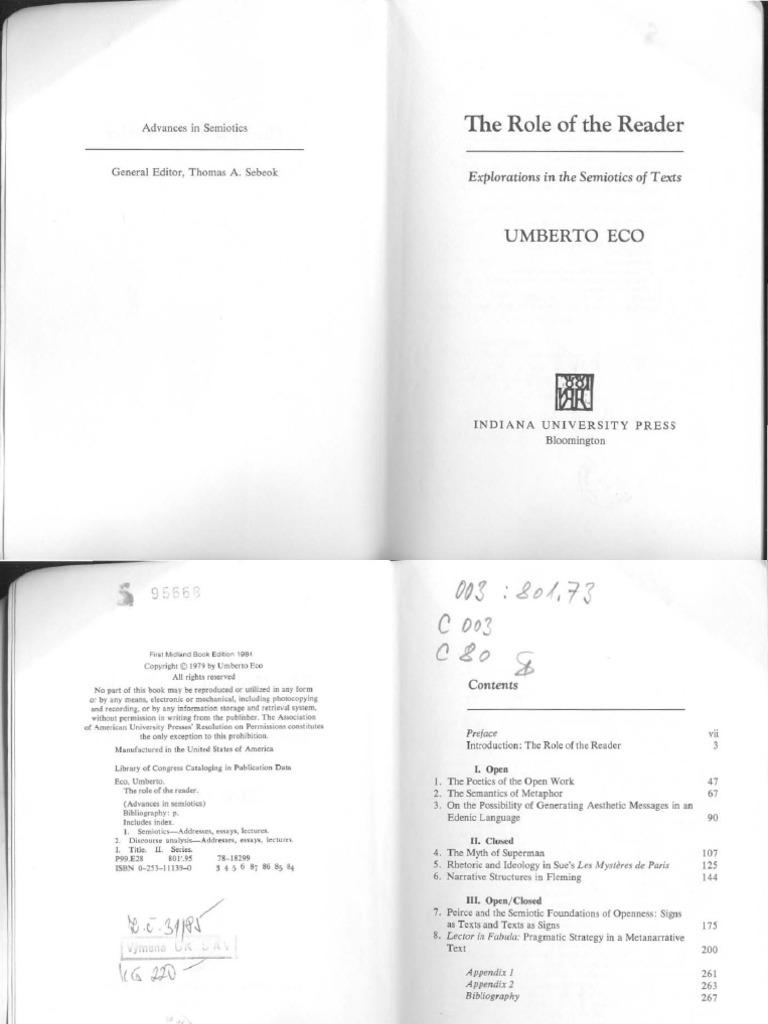 Umberto Eco The Role Of Reader Narrative Clarissa Recherche Pot Pro Circuit Pour 85 Yz