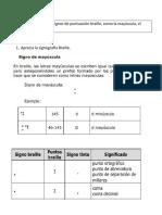 Guía de Braille mayusculas punto y coma