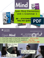 Open Mind Elementary Unit 1,2,3 Grammar
