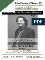 2019-09-16 Programa Recital Lic. - Gabriel Morera M., bajo