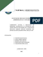 COMPRENSIÓN LECTORA Y RESOLUCIÓN DE PROBLEMAS MATEMÁTICOS EN ESTUDIANTES DEL TERCER GRADO DE SECUNDARIA DE LA INSTITUCIÓN EDUCATIVA MARIANO MELGAR VALDIVIEZO DEL DISTRITO DE JOSÉ LEONARDO ORTIZ-CHICLAYO, 2017