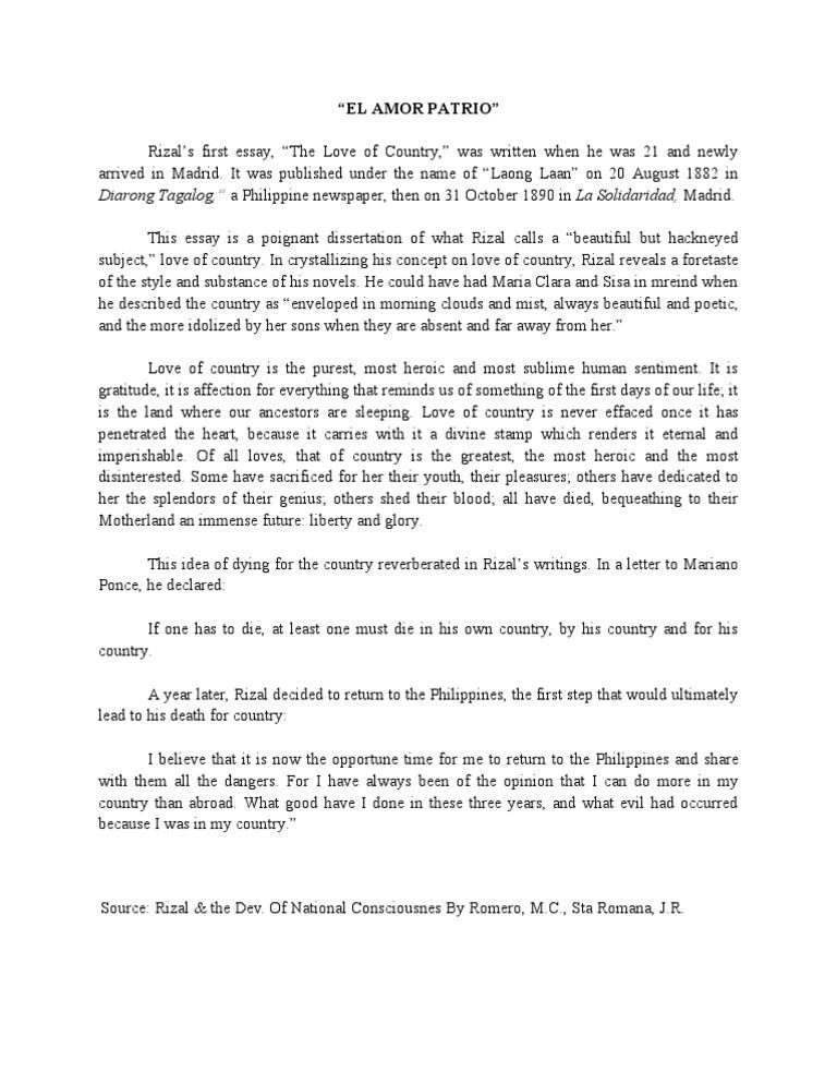 el amor patrio essay copy