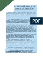O poder administrativo e os seus modos de exercício