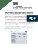 Nota de Prensa_MEF aprueba Reglamento Operativo del Programa de Garantías COVID-19.docx