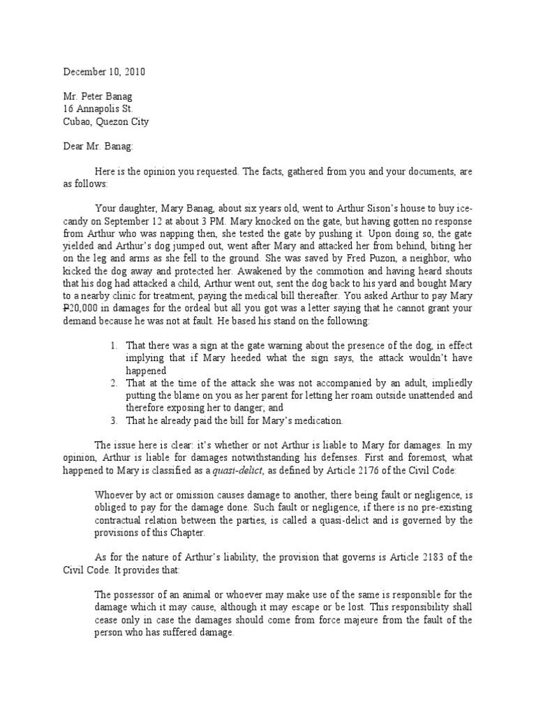 Dog Bite Demand Letter Template