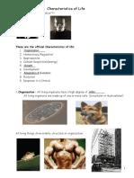 Chapter 1-Characteristics of Life