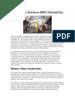 4 Ways to Achieve MRO Reliability