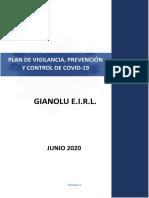 Plan de Vigilancia, Prevención y Control de Covid-19 en el Lugar de Trabajo - Gianolu E.I.R.L.