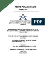 INFRACCIONES LABORALES QUE INFLUYEN EN EL ESTADO DE RESULTADOS DE LA EMPRESA R&R SAC PERIODO 2016