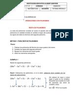 GUIA N52020-2 RESTA Y MULTIPLICACIÓN DE POLINOMIOS