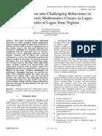 An Investigation Into Challenging Behaviours in Secondary Schools Mathematics Classes in Lagos Metropolis of Lagos State Nigeria
