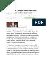 Militantes do PT propõem frente de esquerda para enfrentar o fascismo bolsonarista
