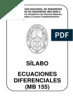 Silabo MB 155 Ecuaciones Diferenciales 2020