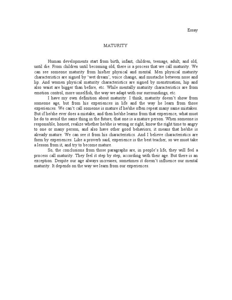 Maturity essay definition