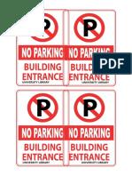 no parking at entrance