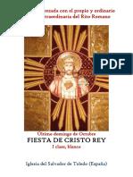 Fiesta de Cristo Rey  (último domingo de octubre). Propio y Ordinario de la santa misa
