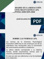 FORMALIDADES EN LA REDACCIÓN DE TEXTOS SEGÚN ESTILO APA SÉPTIMA EDICIÓN-2020