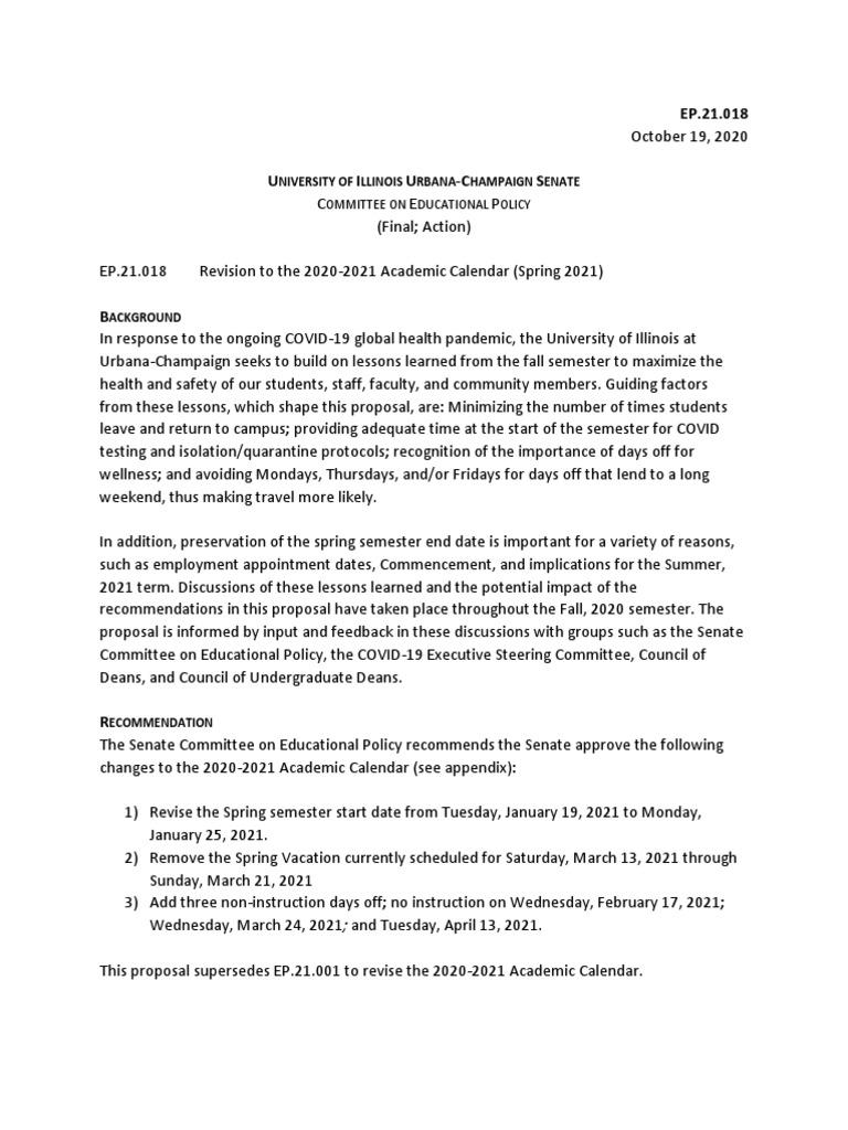 Uiuc Spring 2021 Academic Calendar U. of I. Senate Academic Revision Proposal | Academic Term