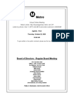 Agenda for Metro Board of Directors meeting for Oct. 2020