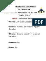 CONFLICTO DE TRABAJO. Lesly Guadalupe López Cano