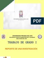 Reporte de Una Investigación - Trabajo de Grado I