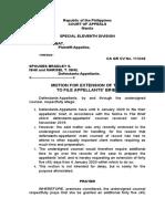 Motion for Extension for AppBrief Ambat v Ishii civil CA