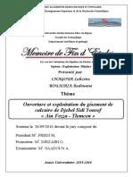 Ouverture et exploitation du gisement de calcaire de Djebel Sidi Yousef Ain Fezza - Tlemcen.pdf