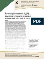 Procecsso de Implementação do IFRS - um ensaio teorico sobre as justificativas relacionadas a resistencias as mudancas organizacionais sob a teoria de lewin.