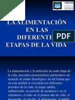 Clase  4 nutrición LA ALIMENTACIÓN EN LAS DIFERENTES ETAPAS DE LA VIDA