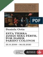Daniela Ortiz - Esta tierra jamás será fértil por haber parido colonos