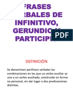 FRASES VERBALES DE INFINITIVO, GERUNDIO Y PARTICIPIO