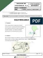 Devoir de Contrôle N°1 - Génie mécanique - Cale reglable - 3ème Technique (2017-2018) Mr Mlaouhi Slaheddine