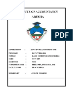 INSTITUTE OF ACCOUNTANCY ARUSHA (Front Page)