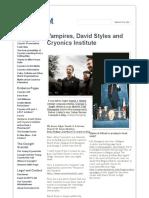 Vampires, David Styles and Cryonics Institute - Cryonics Factsheet