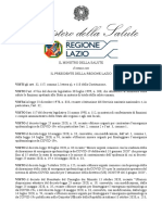 Ordinanza Regione Lazio d'intesa con il Ministro Salute