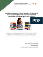 Ghid Cu Recomandari Pentru Reluarea Activitatilor Sociale Si Educationale Cu Copiii in Context de Prevenire Si Control Infec