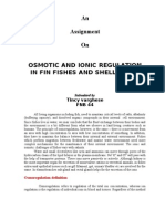 Osmotic and Ionic regulation in finfishes and shellfishes