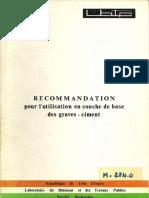 LBTP_RECOMMANDATION pour l'utilisation en couche de base des graves-ciment