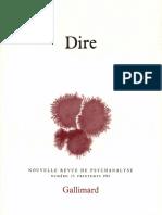 Nouvelle Revue de Psychanalyse N° 23 -Dire
